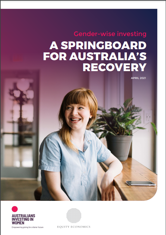 Cover of Gender-wise investing_A Springboard for Australia's Recovery_April 2021